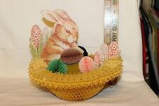 Vintage Honeycomb Waffle Paper Cardboard Easter Basket Bunny Eggs