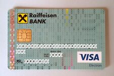 Expired Raiffeisen Bank debit card VISA ELECTRON from Albania. With chip.