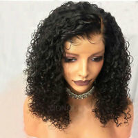 100% Peruvian Real Remy Human Hair Wigs Curly Water Wave Bob Lace Front Full Wig
