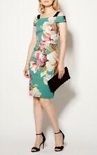 KAREN MILLEN blue painterly floral bardot pencil dress 6_ 8 36 US 4 BNWT Wedding