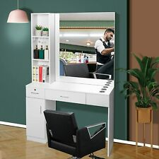 Hair Styling Station Desk Beauty Salon Spa Equipment Set Wall Mount with Mirror
