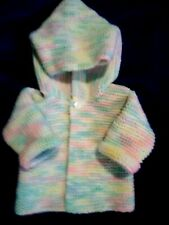 Hand Knit Unisex Baby Hoodie Sweater in Pastel colors