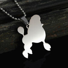 Stainless Steel Mini Toy Standard Poodle Pet Dog Charm Pendant Necklace Giant