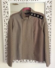 Zara Woman Beige and Brown Houndstooth Mix Print High Neck Top, Size XL UK 12 14
