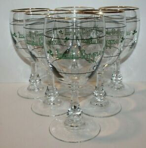 Irish Coffee Wine Glasses Shamrock Gold Trim Set of 6 France St Patricks