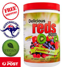 Greens World Delicious Reds 8000 Strawberry Kiwi 10.6 oz (300g) Powder - Vegan