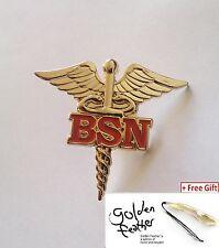"2 x REGISTERED NURSE BSN CADUCEUS RN MEDICAL LAPEL PIN 1.5""GOLD PLATED+ Gift"