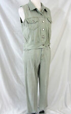 Forenza Pale Green Denim Jeans Size 12 and Vest Med Vintage 1980s Cotton Blend