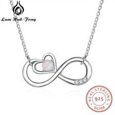 Piedra Ópalo encantador corazón Collar De Plata 925 Amor Navidad regalos para su esposa mujeres