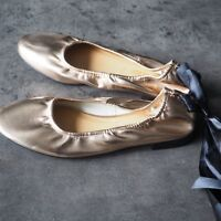 BNWT MONSOON ACCESSORIZE Ladies Rose Gold Ballet Pumps / Tie Fastening - UK 3