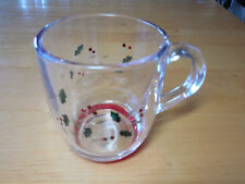 Pfaltzgraff WINTERBERRY Glassware Set of 4 Mugs 4 in Red Green Holly B