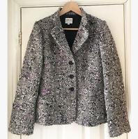 Armani Collezioni Purple Black White Wool Blend Boucle Blazer Jacket Sz 46 UK 14