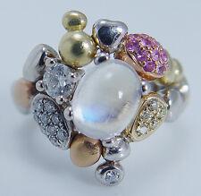 Paul Morelli Pebble Collection Moonstone Diamonds Pink Sapphire Ring 18K Gold