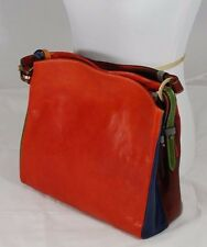 Italian red-orange soft leather shoulder bag--6 diff.colors pieced together