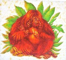 Original Vintage Monkey Orangutan Mother and Baby Iron On Transfer