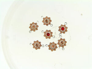 Vintage Swar Peach w Orange Opal Prong Set Silver Layer Flower Burst Connectors