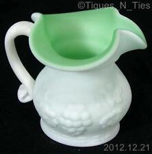 Vintage Kanawha Satin Lime Green Cased Milk Glass Grape Leaf Pitcher Creamer (FF
