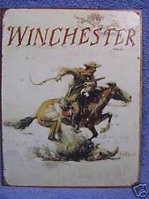 Winchester Logo Horse Tin Metal Sign Hunting Gun NEW