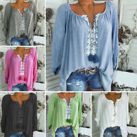 Boho Women Summer Plain Shirt Tops Long Sleeve Blouse Gypsy Beach T-Shirt 4-20