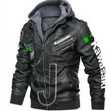 New Men's Kawasaki Biker Racing Real Leather Jacket With Hoodies Made To Order