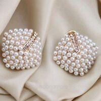 Womens Retro Elegant Crystal Rhinestone White Pearl Rhombus Ear Studs Earrings