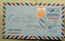 DR WHO 1967 HAITI TO US AEROGRAMME UPRATED STATIONERY C193368