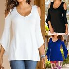 Womens Flared Sleeve Cold Shoulder Loose Plus Size Blouse Solid T-Shirt Tee Top