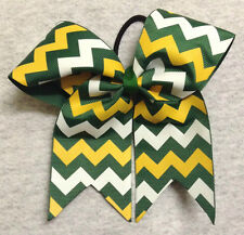 Green, Gold and White Chevron Cheer/Softball/Volleyball Bow - Handmade