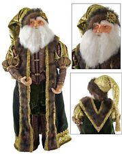 "Katherine's Collection 24"" Tapestry Santa Claus Green Woodland Doll NEW"