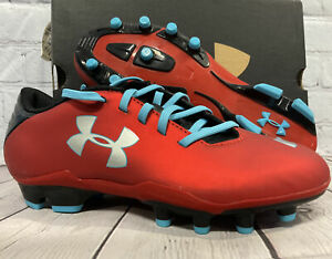 Under Armour Kid's Blur Flash lll FG JR Soccer Cleats Size 4.5Y Red / Blue NEW