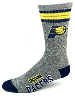 For Bare Feet Indiana Pacers Gray Marbled 4 Stripe Crew Socks