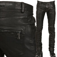 Punk Rock Mens PU Leather Motorcycle Slim Fit Pants Trousers Size Black New H39