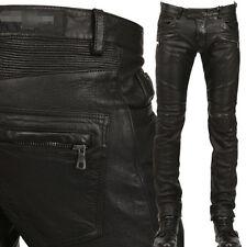 Punk Rock Mens PU Leather Motorcycle Slim Fit Skinny Pants Trousers Size Black