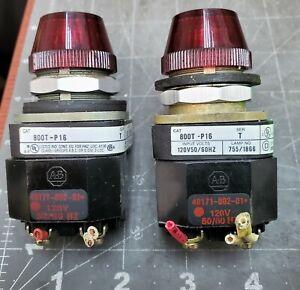 Lot Of (2) ALLEN BRADLEY 800T-P16R RED 120V PILOT LIGHT TRANSFORMER TYPE [Z2S5