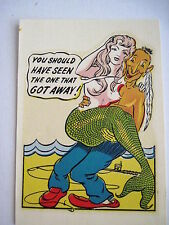 Vintage Decal of A Risque Mermaid Being Held By An Indian