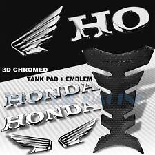 PERFORATED BLACK PRO GRIP TANK PAD+CHROME WING LOGO+HONDA LETTER EMBLEM STICKER