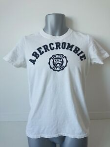 Mens ABERCROMBIE & FITCH Spell Out Muscle White T-Shirt Top Crew Neck Small S