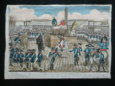 Incisione Popolare Execution Marie Antoniette Place de la Revolution Fine '700