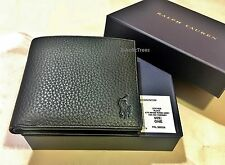POLO RALPH LAUREN BI FOLD BLACK LEATHER 'BOULDER-968504' COIN WALLET