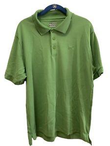 Under Armour Green Men's Large Polo/golf Shirt Heat Gear