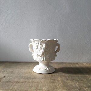 Vintage White Ceramic Mantle Vase Jardiniere Plant Pot Cherubs Double Handles