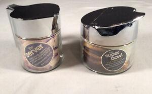 "Vintage Gemco Clear Glass Sugar & Creamer With ""Chrome"" Tops 4.5"" Sugar 5"" Cream"