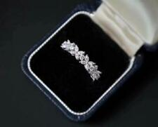 Pave CZ Silver SP Flower Lucky Clover Promise Band Ring RS78