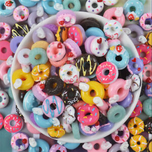10pcs Colorful Resin Simulation Miniature 3D Cute Donuts Flat Back Cabochon