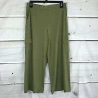 Lisa Rinna Collection Petite Pull On Wide Leg Cargo Pants Stretch Knit Womens PM