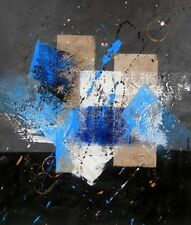 Blue, Gray, and White Fine Art Canvas Oil Painting Finished in US Wall Art Decor
