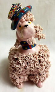 "Pink Spaghetti Poodle Dog with Hat & Bad Grooming 5"" Japan"