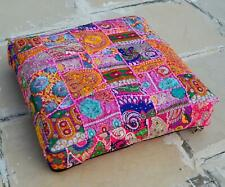 """24x24"""" Square  Box Cushion Cover Pet Dog Bed Cover Pink Embroidered Patchwork"""