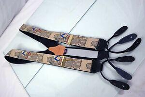 Paul Stuart England Medieval Knights Novelty Mens Leather Suspenders Braces