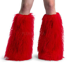Yeti-01 Sexy Faux Fur Red Leg Warmers Boot Covers Gogo Dancer Rave Wear